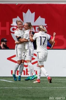 Team Germany midfielder Turid Knaak (22) celebrates her game-winning goal in the 84th minute
