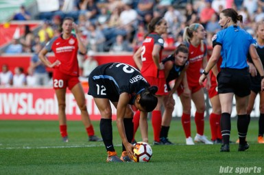 Chicago Red Stars forward Yuki Nagasato (12) takes the penalty kick for the Red Stars