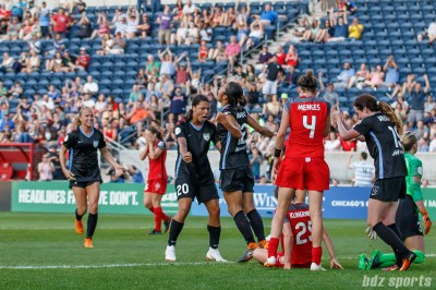 Chicago Red Stars forward Yuki Nagasato (12) celebrates her goal in the first half