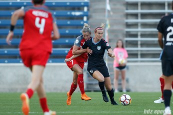 Chicago Red Stars defender Katie Naughton (5) and Portland Thorns forward Ana-Maria Crnogorcevic (7)