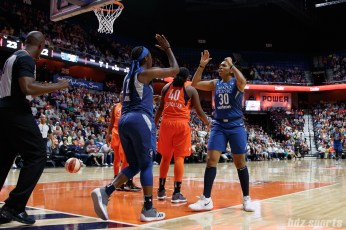 Minnesota Lynx guards Alexis Jones (12) and Tanisha Wright (30)