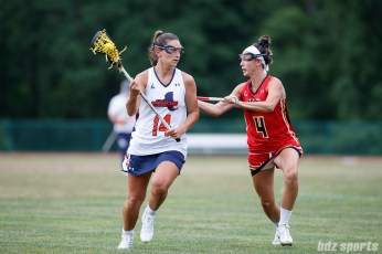 Upstate Pride defender Nadine Hadnagy (14) and Baltimore Brave midfielder Marie McCool (4)