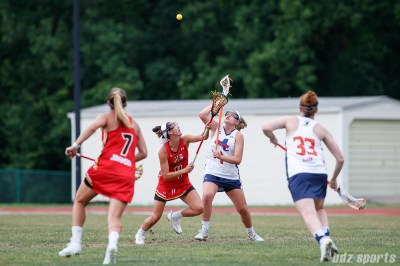 Baltimore Brave midfielder Marie McCool (4) and Upstate Pride midfielder Haley Warden (1)