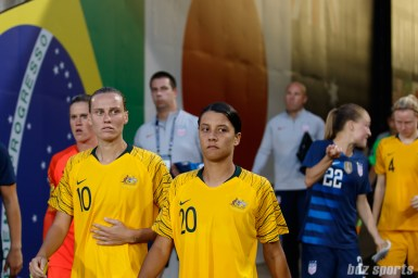 Team Australia midfielder Emily Van Egmond (10) and forward Sam Kerr (20)