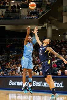 Chicago Sky guard Diamond DeShields (1) and Indiana Fever forward Candice Dupree (4)