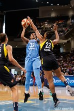 Chicago Sky forward Cheyenne Parker (32) and Indiana Fever forward Stephanie Mavunga (23)