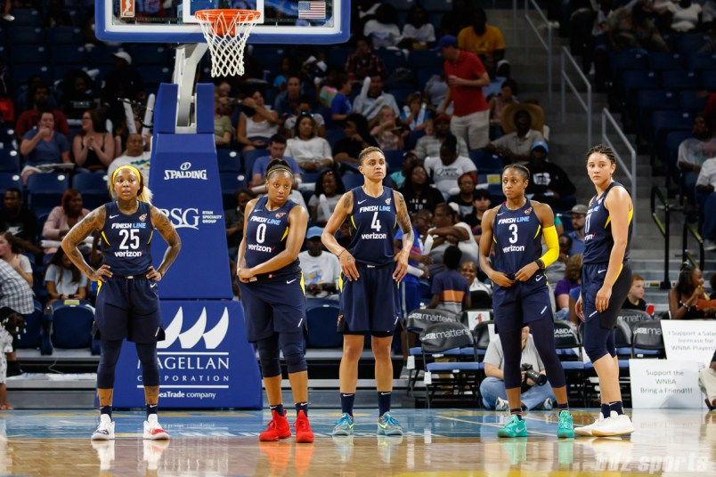 Indiana Fever players Cappie Pondexter (25), Kelsey Mitchell (0), Candice Dupree (4), Tiffany Mitchell (3), and Natalie Achonwa (11)