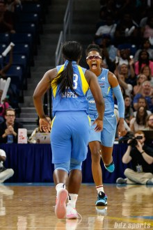 Chicago Sky guards Diamond DeShields (1) and Linnae Harper (23)