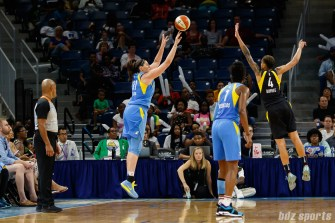 Chicago Sky center Stefanie Dolson (31) and Indiana Fever forward Candice Dupree (4)