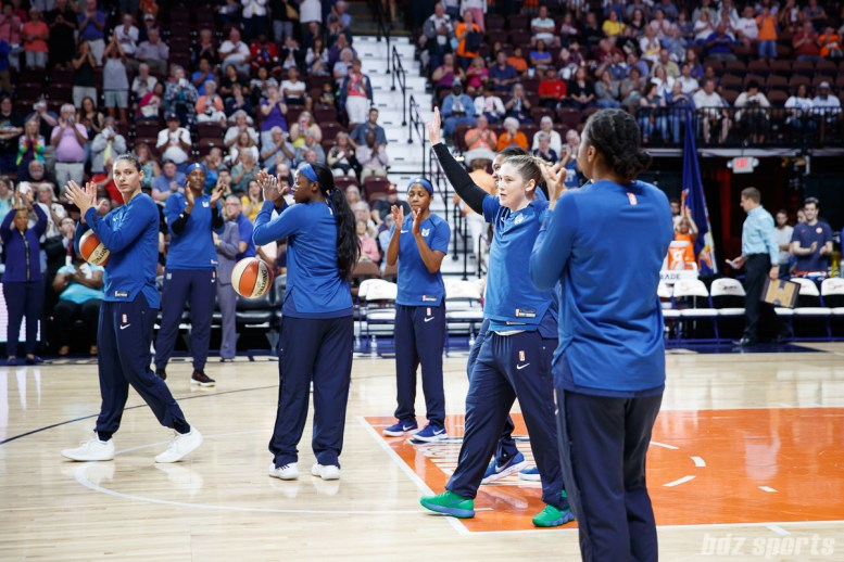 Former Connecticut Sun player and current Minnesota Lynx guard Lindsay Whalen (13), who announced her retirement from basketball earlier this week, receives a standing ovation.