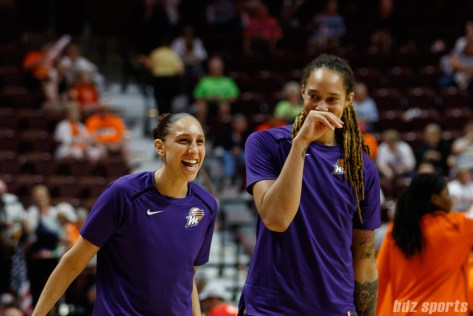 Phoenix Mercury guard Diana Taurasi (3) and center Brittney Griner (42)