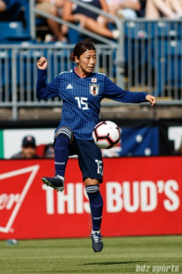 Team Japan midfielder Moeno Sakaguchi (15)