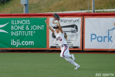 USSSA Pride outfielder Alexis Bennett (48) gets the last out of the game