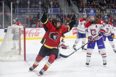 Calgary Inferno forward Zoe Hickel (44) celebrates her second goal of the game