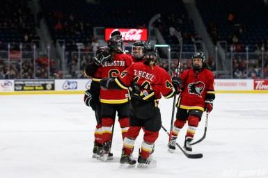 The Calgary Inferno celebrate forward Rebecca Johnston's (6)goal