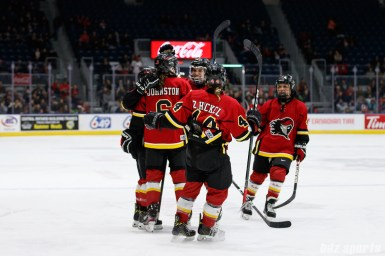 The Calgary Inferno celebrate forward Rebecca Johnston's (6)goal