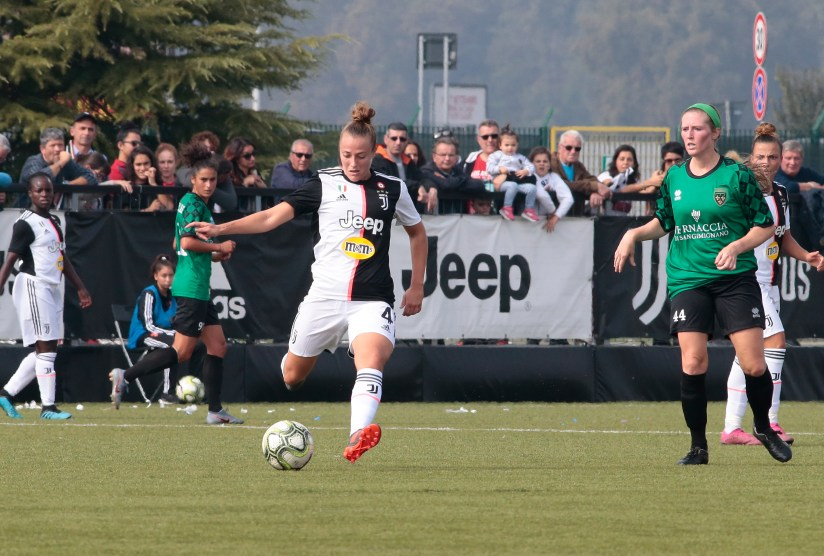 during the Italian championship Serie A Women, football match between Juventus Women and Florentia, on October 13, 2019 at Juventus Training Center Vinovo, Turin, Italy - Photo Nderim Kaceli