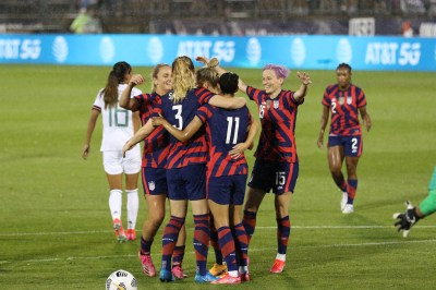 Team USA celebrates their first goal in the first of two 2021 WNT Send-Off Series games between the USWNT and Mexico at Rentschler Field in East Hartford, CT on July 1, 2021.