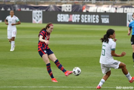 USWNT midfielder Rose Lavelle (16) takes a shot on goal in the second of two 2021 WNT Send-Off Series games between the USWNT and Mexico at Rentschler Field in East Hartford, CT on July 5, 2021.
