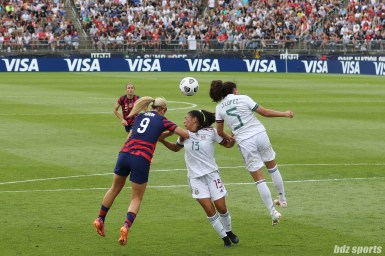 USWNT midfielder Lindsey Horan (9) and Team Mexico defenders Reyna Reyes (13) and Jimena Lopez (5) battle in the air for the ball in the second of two 2021 WNT Send-Off Series games between the USWNT and Mexico at Rentschler Field in East Hartford, CT on July 5, 2021.