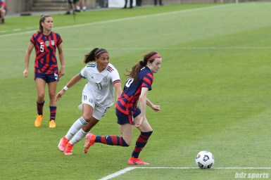 USWNT midfielder Rose Lavelle (16) drives towards goal in the second of two 2021 WNT Send-Off Series games between the USWNT and Mexico at Rentschler Field in East Hartford, CT on July 5, 2021.