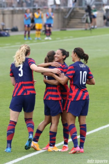 Team USA celebrates their fourth goal in the second of two 2021 WNT Send-Off Series games between the USWNT and Mexico at Rentschler Field in East Hartford, CT on July 5, 2021.