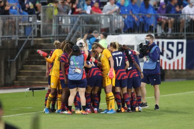 USWNT huddle at the start in the first of two 2021 WNT Send-Off Series games between the USWNT and Mexico at Rentschler Field in East Hartford, CT on July 1, 2021.