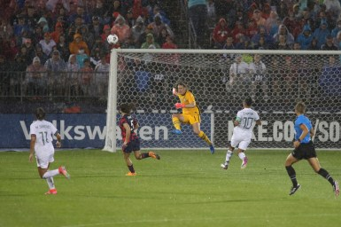 USWNT goalkeeper Alyssa Naeher (1) clears the ball in the first of two 2021 WNT Send-Off Series games between the USWNT and Mexico at Rentschler Field in East Hartford, CT on July 1, 2021.