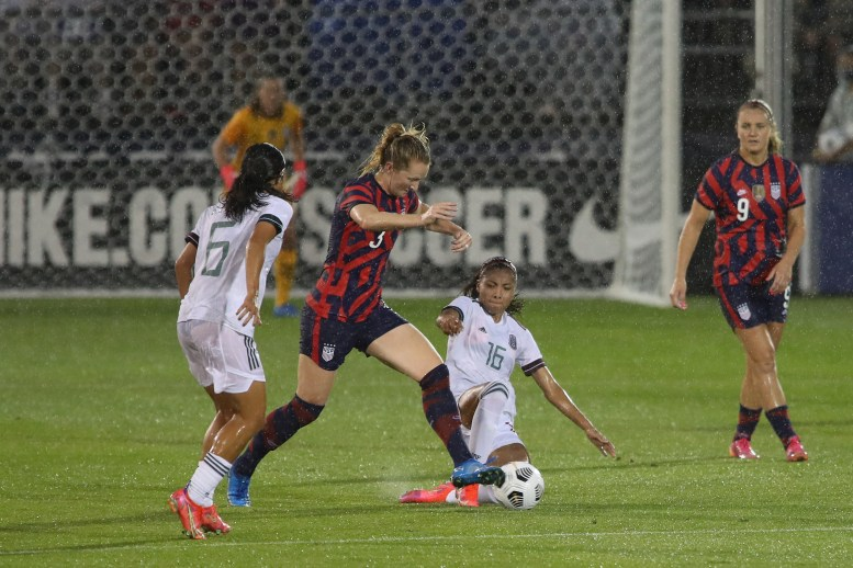 USWNT midfielder Samantha Mewis (3) and Team Mexico midfielder Nancy Antonio (16) in the first of two 2021 WNT Send-Off Series games between the USWNT and Mexico at Rentschler Field in East Hartford, CT on July 1, 2021.