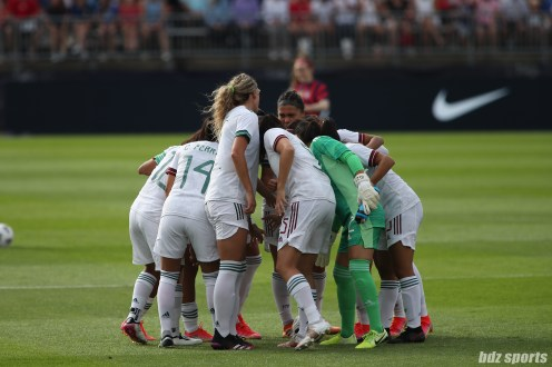 Team Mexico huddles before the start of the second of two 2021 WNT Send-Off Series games between the USWNT and Mexico at Rentschler Field in East Hartford, CT on July 5, 2021.