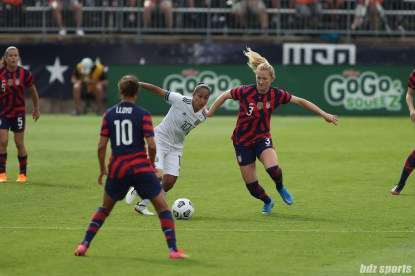 Team Mexico forward Stephany Mayor (10) battles USWNT midfielder Samantha Mewis (3) for the ball in the second of two 2021 WNT Send-Off Series games between the USWNT and Mexico at Rentschler Field in East Hartford, CT on July 5, 2021.