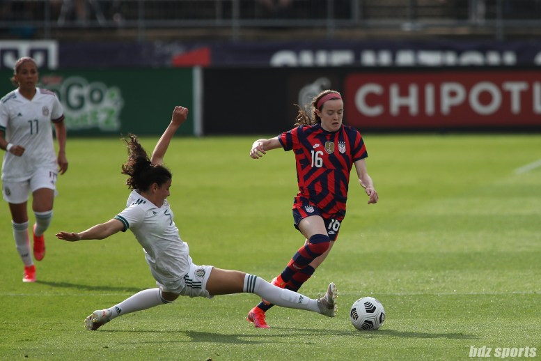 Team Mexico defender Jimena Lopez (5) attempts to slow down USWNT midfielder Rose Lavelle (16) in the second of two 2021 WNT Send-Off Series games between the USWNT and Mexico at Rentschler Field in East Hartford, CT on July 5, 2021.