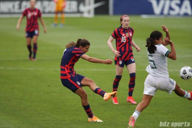 USWNT midfielder Tobin Heath (7) takes a shot on goal in the second of two 2021 WNT Send-Off Series games between the USWNT and Mexico at Rentschler Field in East Hartford, CT on July 5, 2021.