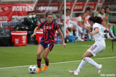 USWNT defender Kelley O'Hara (5) controls the ball in the second of two 2021 WNT Send-Off Series games between the USWNT and Mexico at Rentschler Field in East Hartford, CT on July 5, 2021.