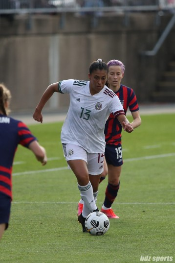 Team Mexico defender Reyna Reyes (13) with the ball in the second of two 2021 WNT Send-Off Series games between the USWNT and Mexico at Rentschler Field in East Hartford, CT on July 5, 2021.