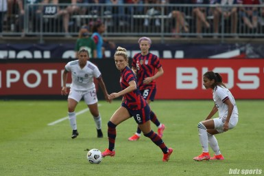 USWNT midfielder Kristie Mewis (6) controls the ball in the second of two 2021 WNT Send-Off Series games between the USWNT and Mexico at Rentschler Field in East Hartford, CT on July 5, 2021.