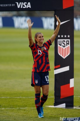 USWNT forward Alex Morgan (13) waves to fans at the end of the final 2021 WNT Send-Off Series game between the USWNT and Mexico at Rentschler Field in East Hartford, CT on July 5, 2021.