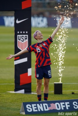USWNT midfielder Megan Rapinoe (15) strikes a pose at the end of the final 2021 WNT Send-Off Series game between the USWNT and Mexico at Rentschler Field in East Hartford, CT on July 5, 2021.