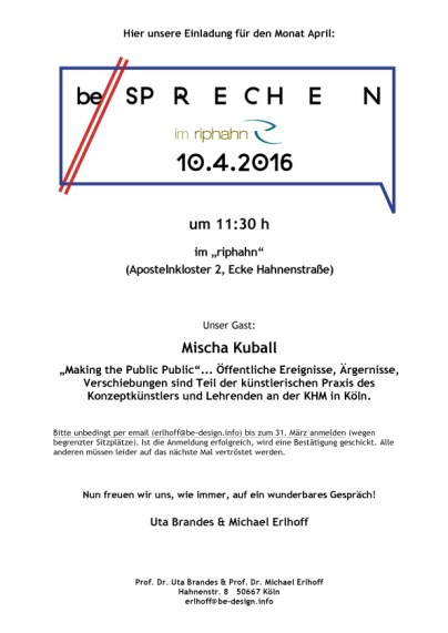 be//sprechen im riphahn - Einladung Mischa Kuball