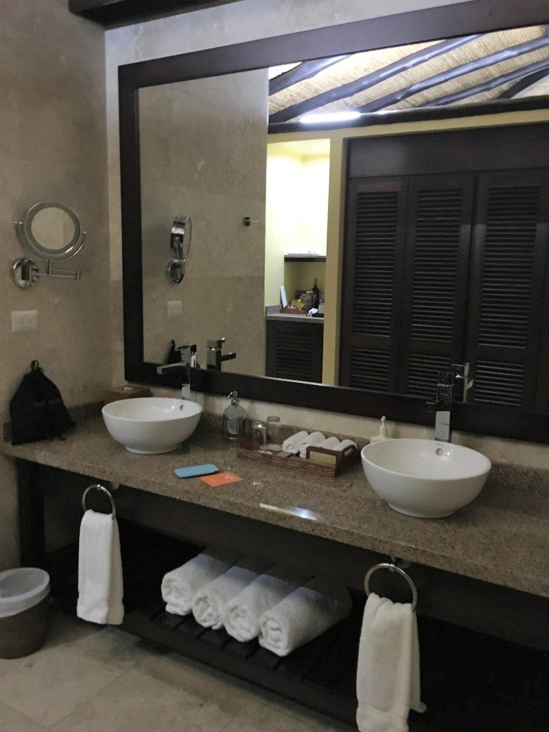 The super swish Nayara Resort Vanity Area