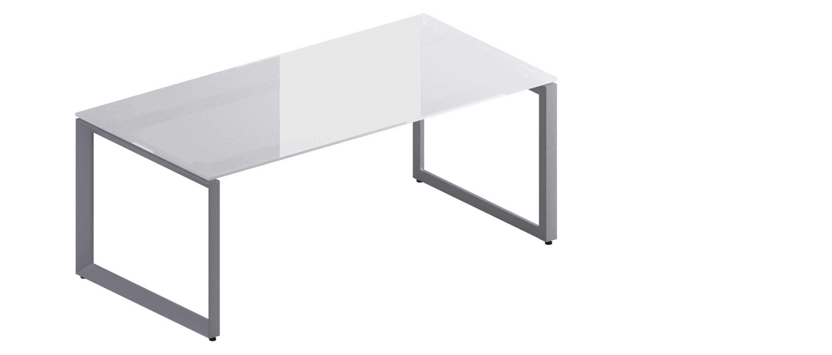 bureau design avec plateau en verre et pieds boucles en acier ama