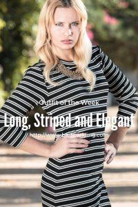 Outfit, long, striped, elegant, dress, black, white, stripes, blond girl, miriam ernst, fashion blogger, fashion blog