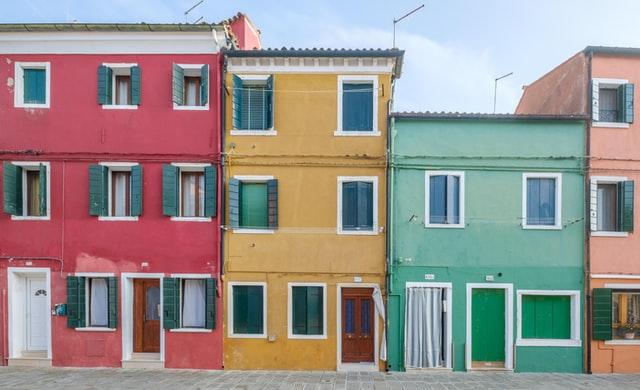 Burano, Italien, Vendig, Häuserwand