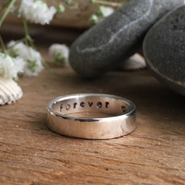 Secrets – recycled silver square band ring