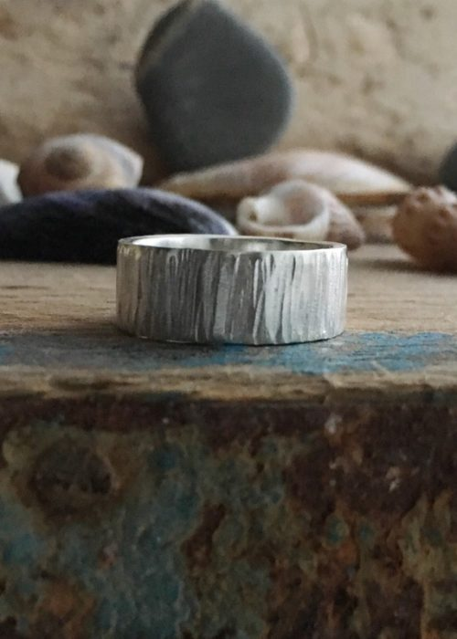 driftwood recycled silver band ring