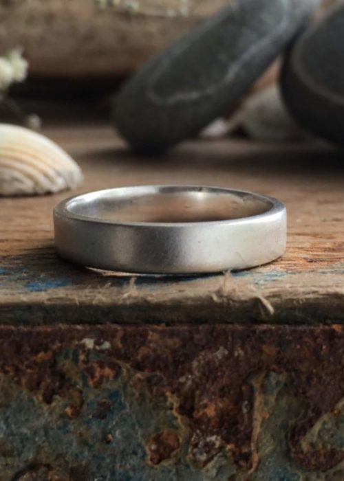 Satin - recycled silver band ring