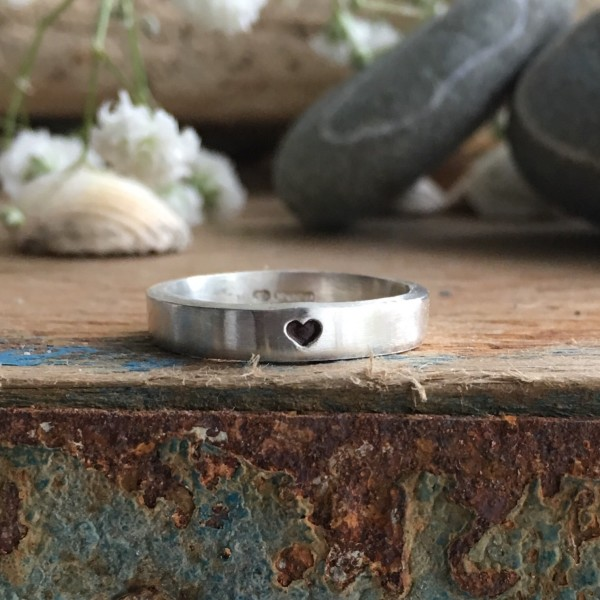 Heart recycled silver square band ring