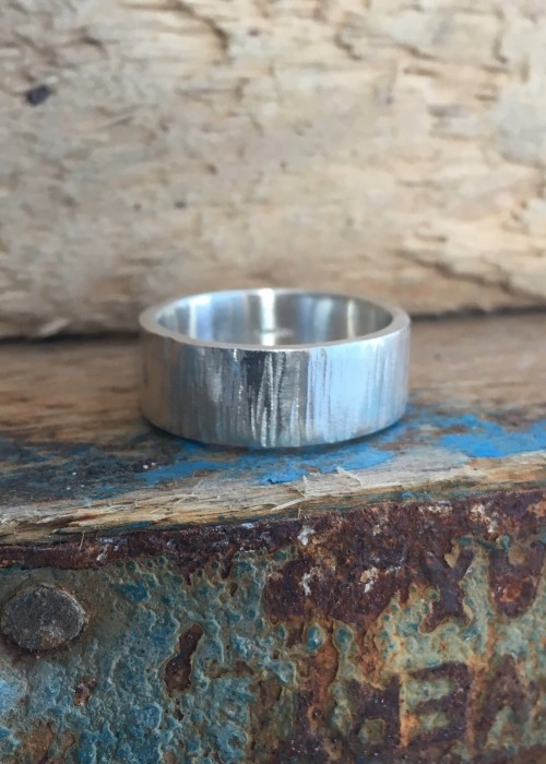 Driftwood finish recycled silver band ring