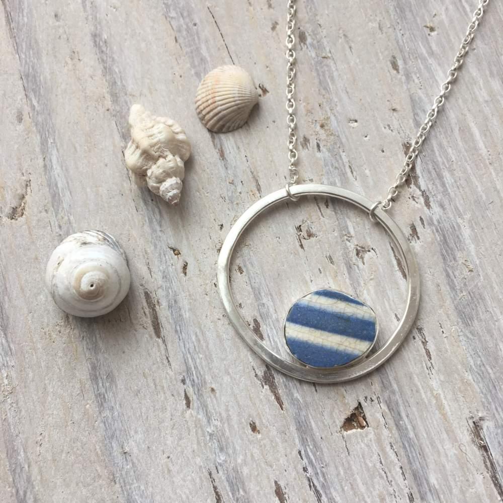 Striped Sea Pottery Circle Pendant