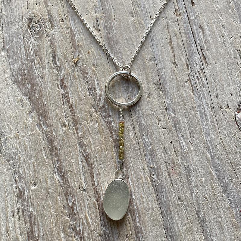 Sea glass and raw diamonds pendant